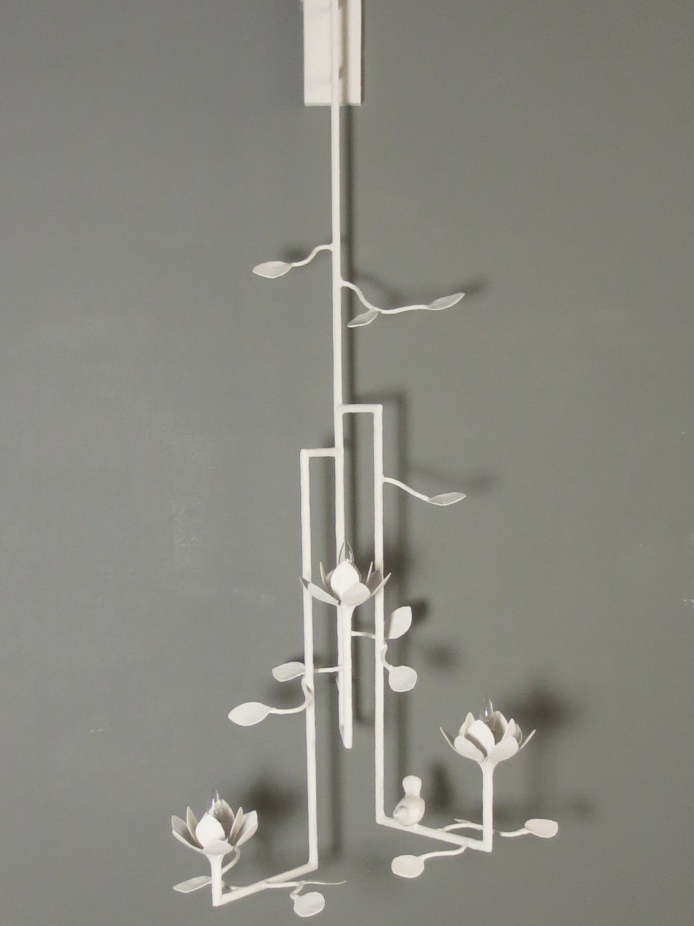 Lotus 3 Arm Wall Sconce with Bird