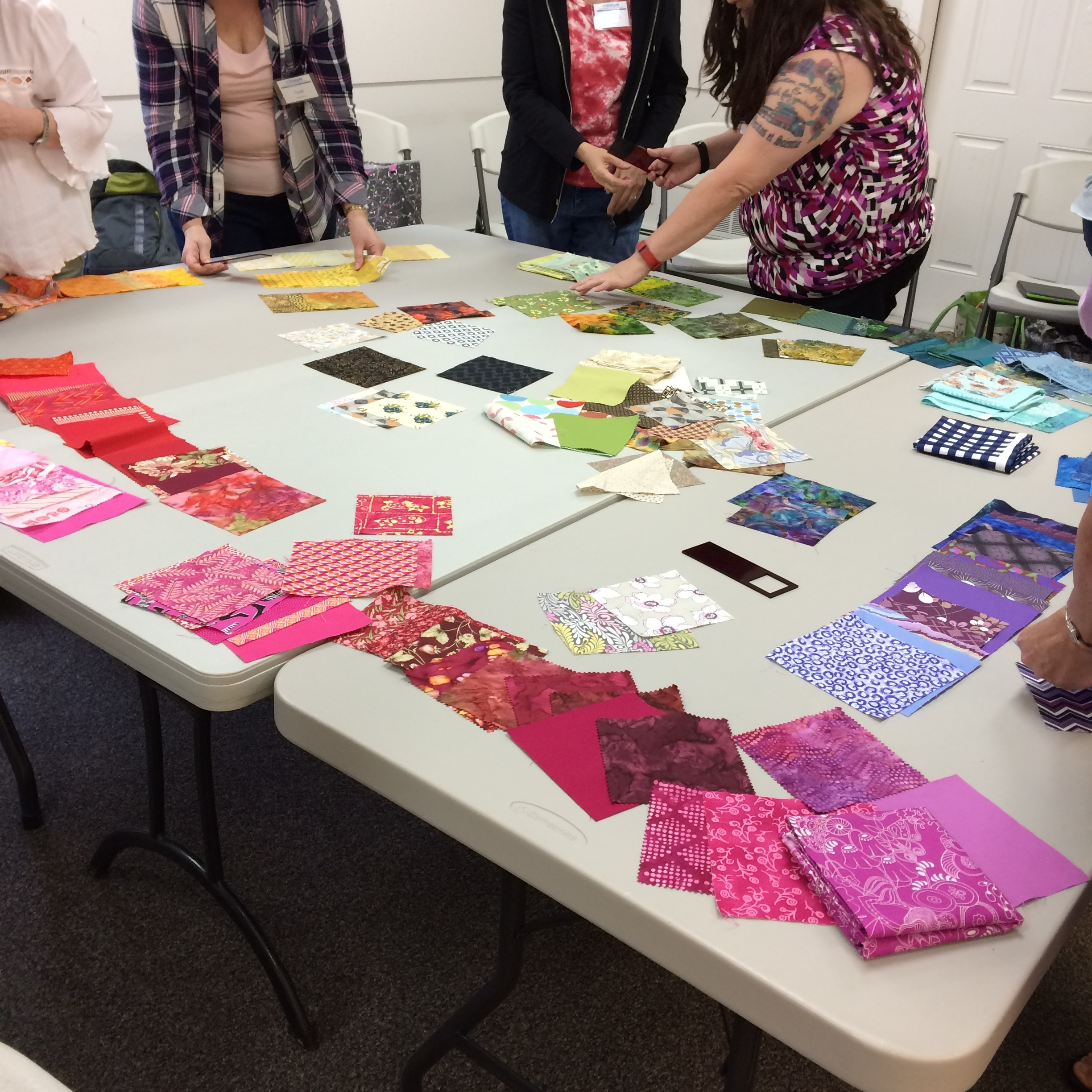 "- Designing with Flying Colors (2-3 hours, no sewing)Are you stuck in a color rut? Or are you afraid that you might make a color ""mistake"" in your quilts? In this workshop, students try out new color combinations and learn how to use color placement as a major design element. Participants should bring 10, 5"