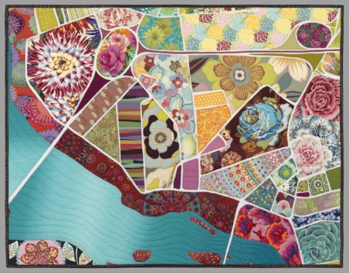 "- Map Making with Fabrics (6 or 12 hours)Use fabric to capture a special location. Maybe it's your favorite vacation spot, your neighborhood, or your hometown. Over the course of the workshop, participants will learn both pattern-making and improvisational quilting techniques to create personal map quilts. Bring a large paper map of a location you would like to replicate (approx. 24""x36""), your favorite fabrics and threads, and a willingness to experiment. Mark your place in the world!"
