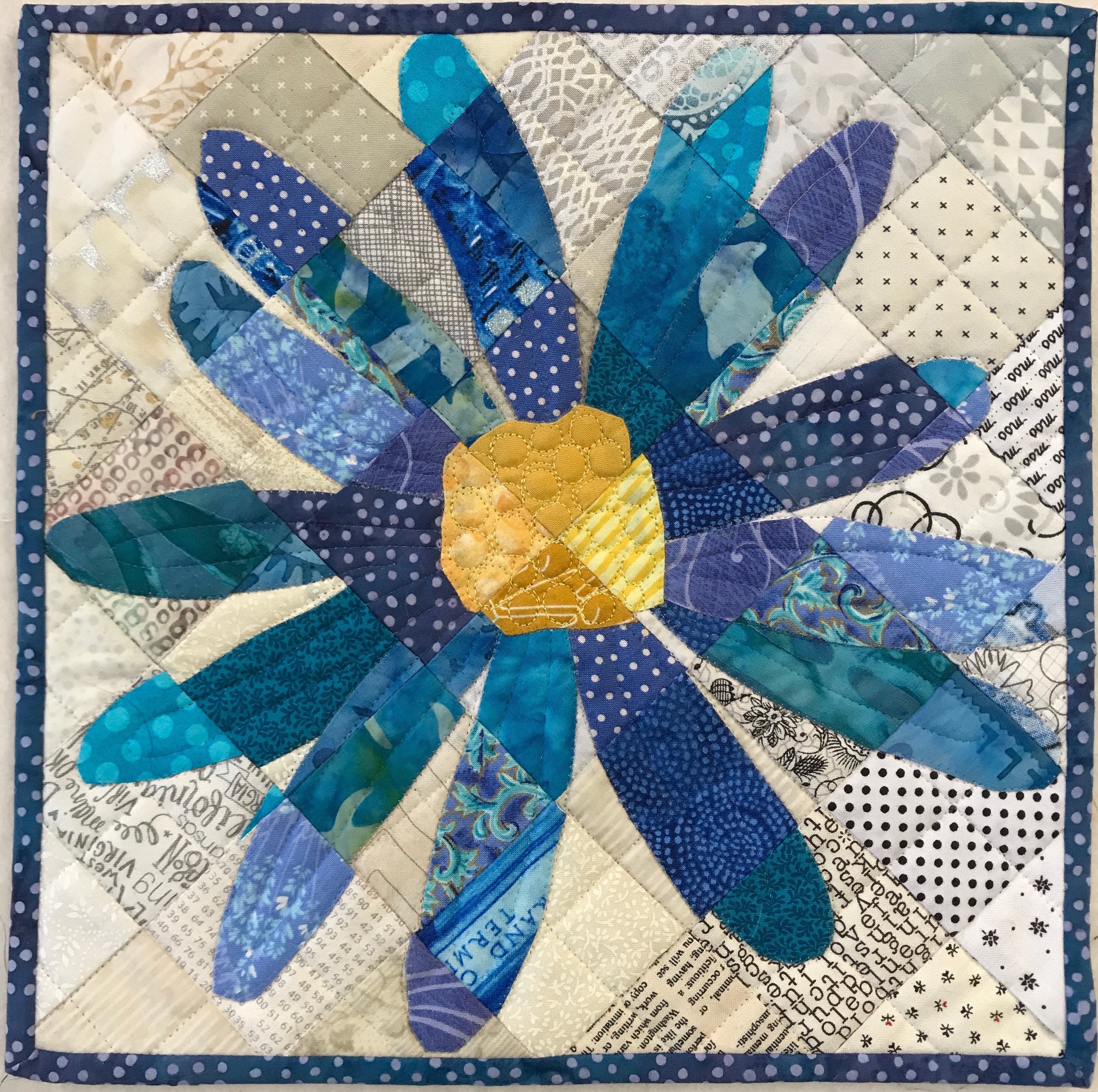"- Stitched Mosaics (6 hours)Create photorealistic quilts one square at a time in this one-day workshop. Learn the techniques that make up Timna's Barnyard Series of animal quilts. Using a photo and kit provided in class, the process of making a fabric mosaic using turned edge machine applique is explained. We will break down the construction process, explore color and value as design elements, and learn how to choose the right fabric for the right location. For intermediate level quilters.Kit Fee: $45. Kit includes fabric squares needed for the top (finishes 11""x11""), photo, and assorted notions."