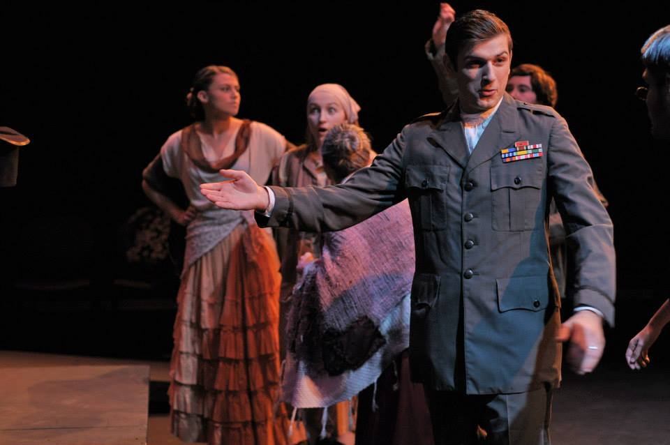 Justin Hashegan (the Captain) and the cast of Woyzeck