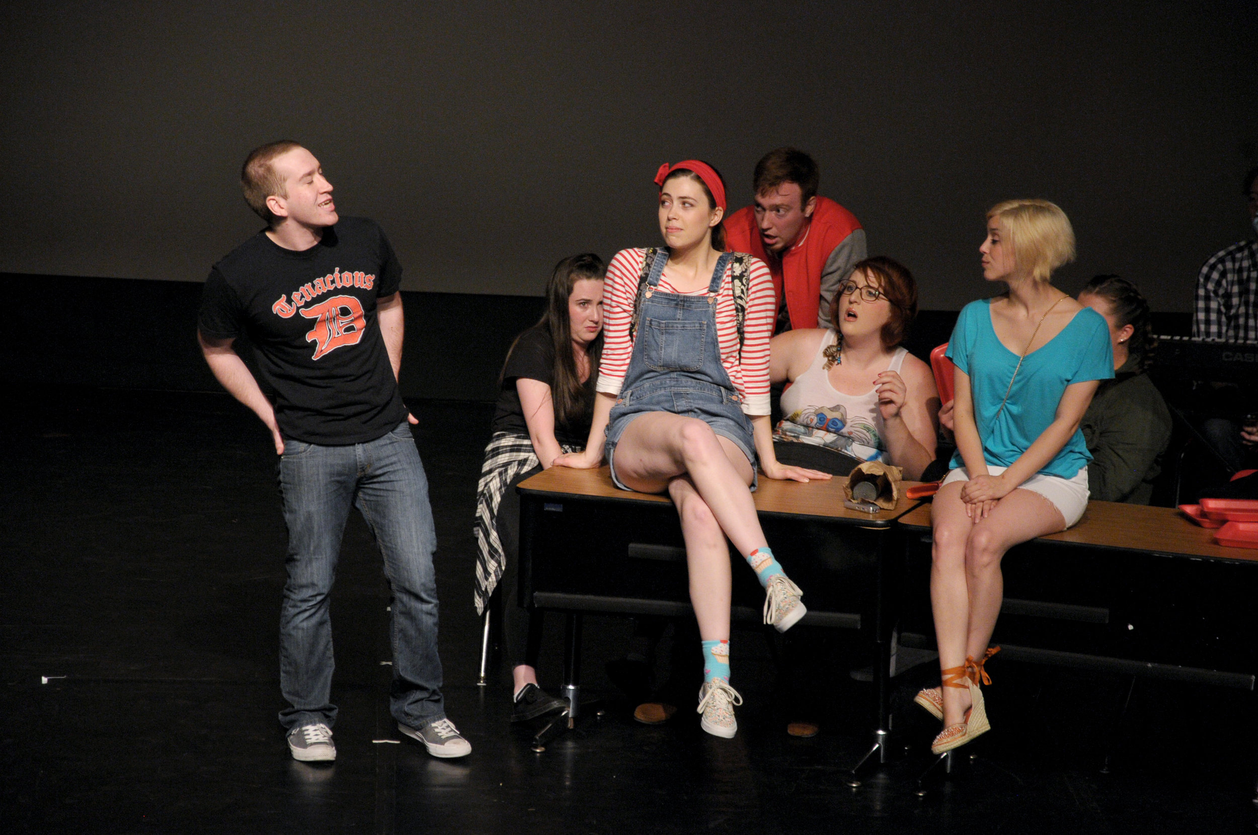 Dylan Hares (Devon), Tess Higgins (Olivia), Aaron Sulkin (Wayne), Katie Brunberg (Veronica), and Brittany Martz (Peyton)