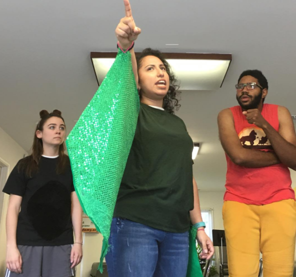Megan Gasztonyi, Jackie Salvador, and Justin Sumblin in rehearsal.