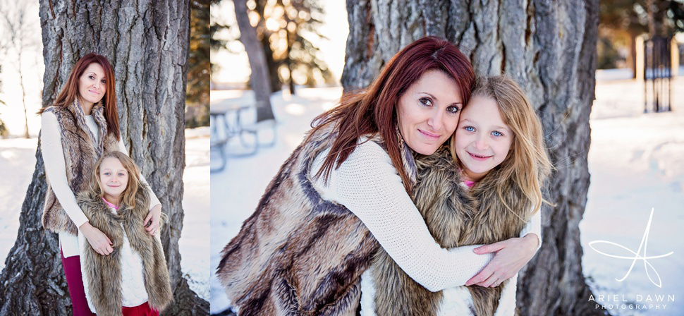 Mom and daughter twin fur vests!