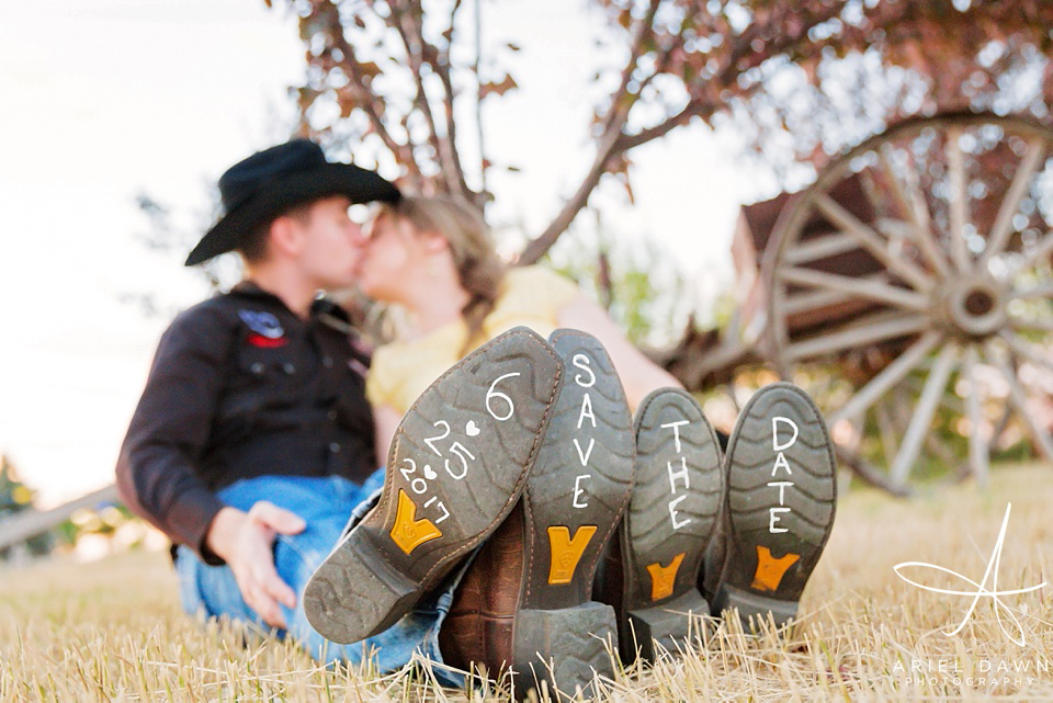 Cute Save The Date on cowboy and cowgirl boots | Great Falls, Montana | Ariel Dawn Photography | www.arieldawnphotography.com | Engagement Photographer