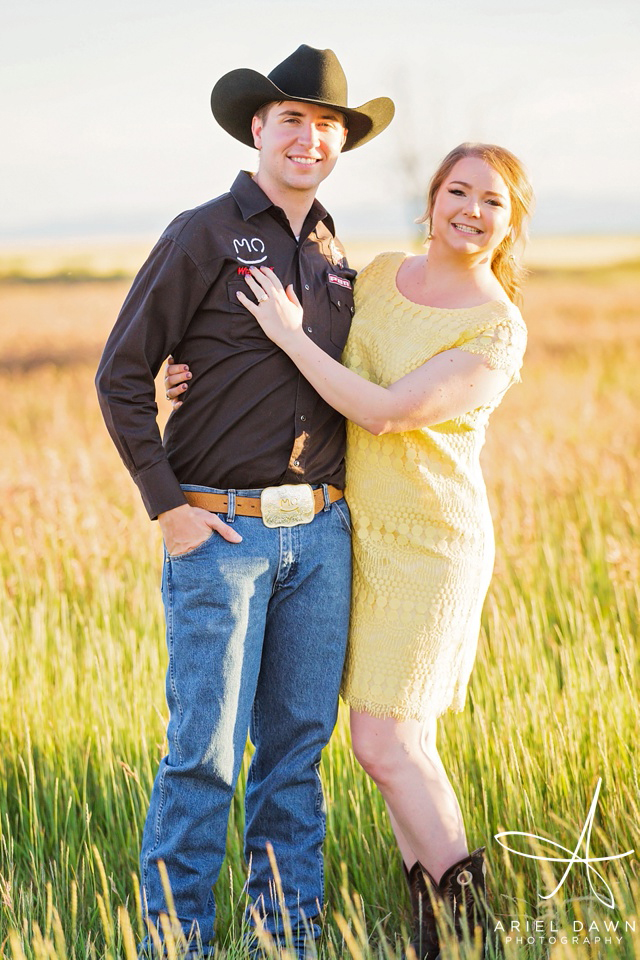 Cowgirl and Cowboy Montana Engagement Session| Great Falls, Montana | Ariel Dawn Photography | www.arieldawnphotography.com | Wedding Photographer | Yellow Dress