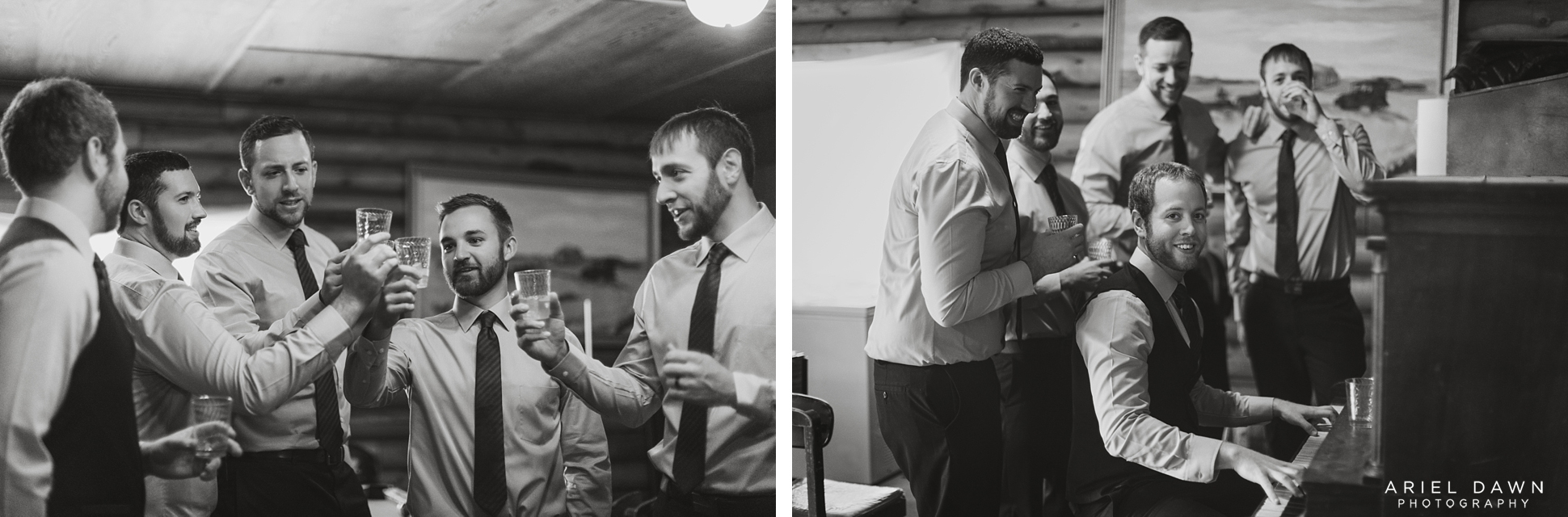 The groom and groomsmen's time getting ready was nothing but relaxing and filled with merriment of having a glass of whiskey and singing songs.