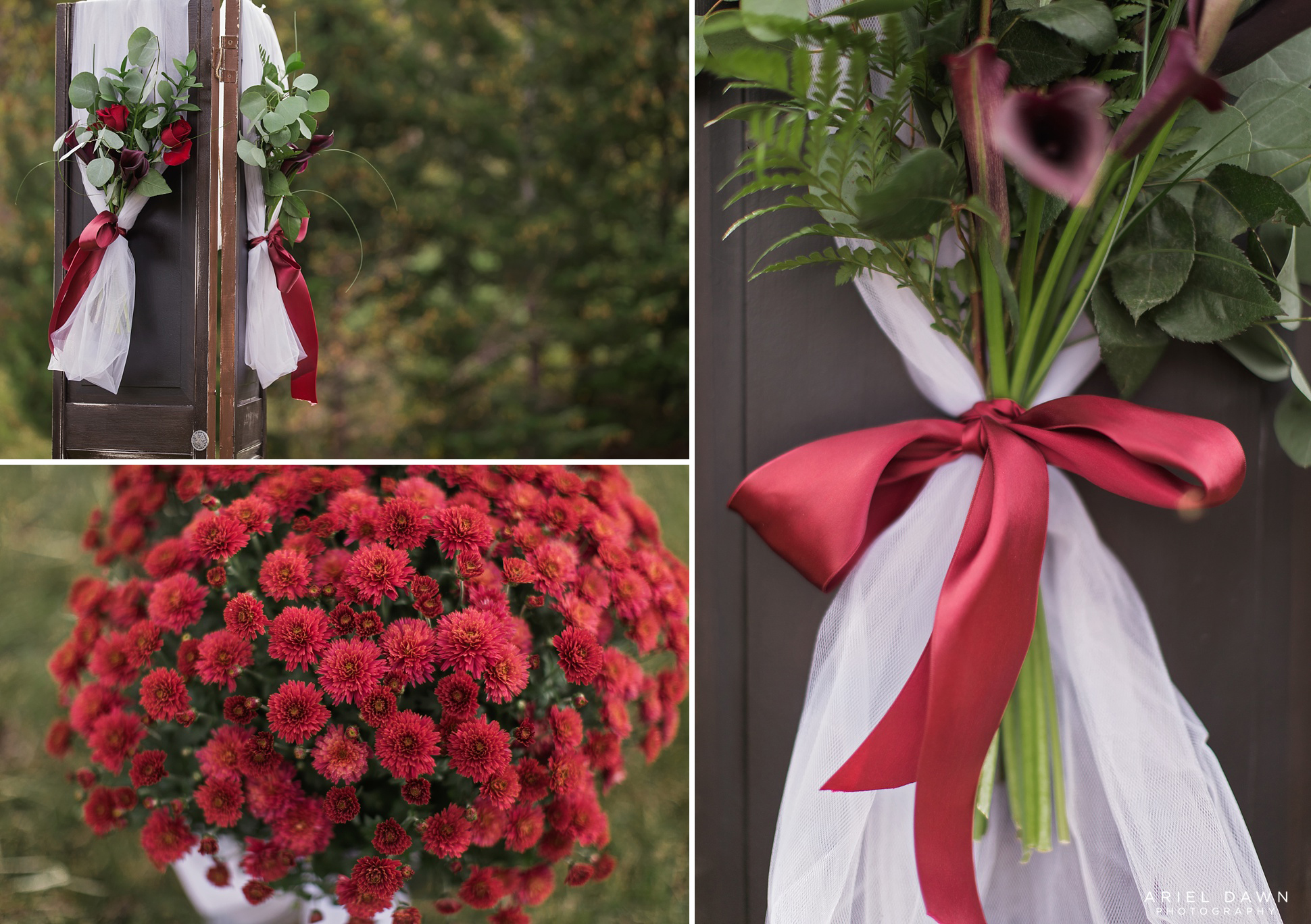 The maroon and reds from the wedding decorations that go so wonderful with all the lush green from the forest.