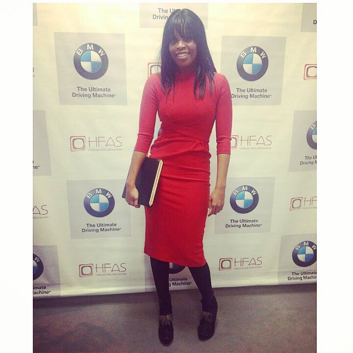 """Pictured: Toni at the Harlem Fine Arts Show Gala in Chicago in the """"Vickie"""" dress. Color(s): Green, Black, Red (shown). Fabric: Knitted twill.  Click  for Price. Size: XS-4X. SHOP the Vickie  here ."""