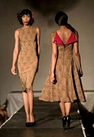 """Models of the runway in Tatyana """"Wiggle"""" (l) and """"Circle"""" (r) frocks."""