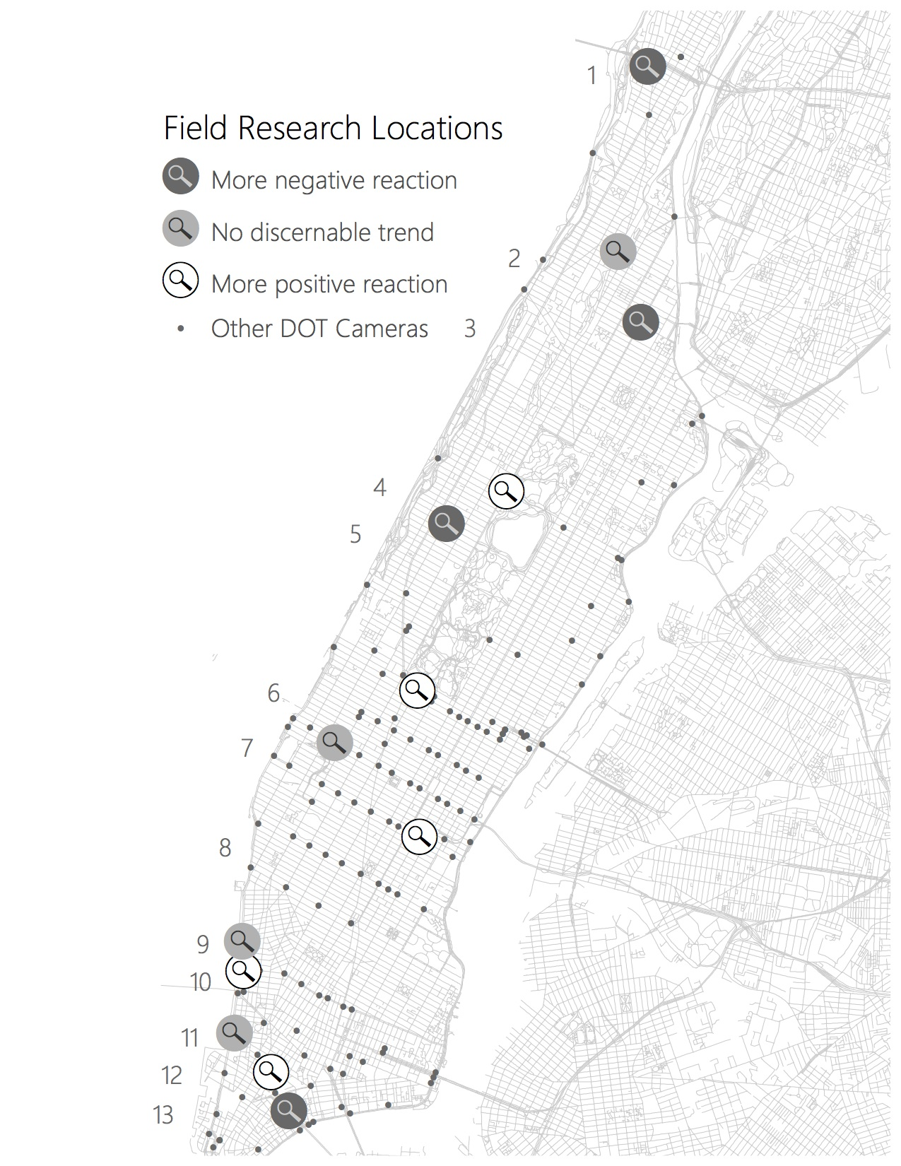 A map of places in Manhattan where respondents have more favorable reactions to NYPD surveillance.
