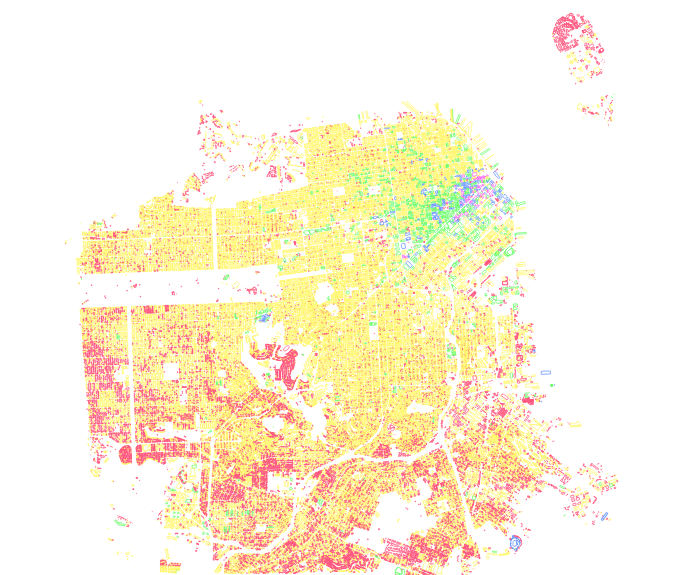 Celebrating the usual way, with some San Francisco development maps (all buildings in the city displayed by height).