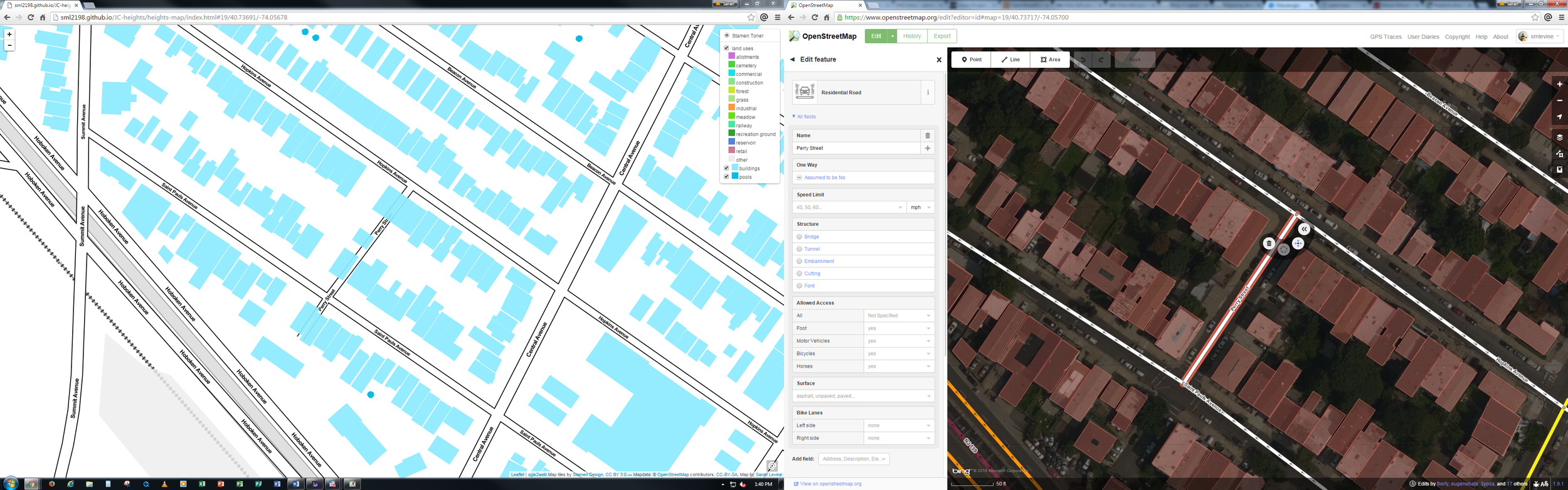 Yes, my wide double screens are the bomb. On the left is a mockup of the map. On the right is the same area zoomed in on with the OSM id-editor. Perry Street is selected.