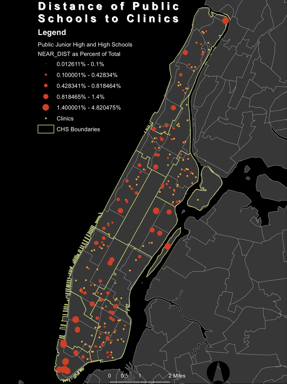 Health Clinic Distance from Public Schools   NYC sexual health clinic distance from census tract selected areas of high percent teen population, laid over percent teen population.