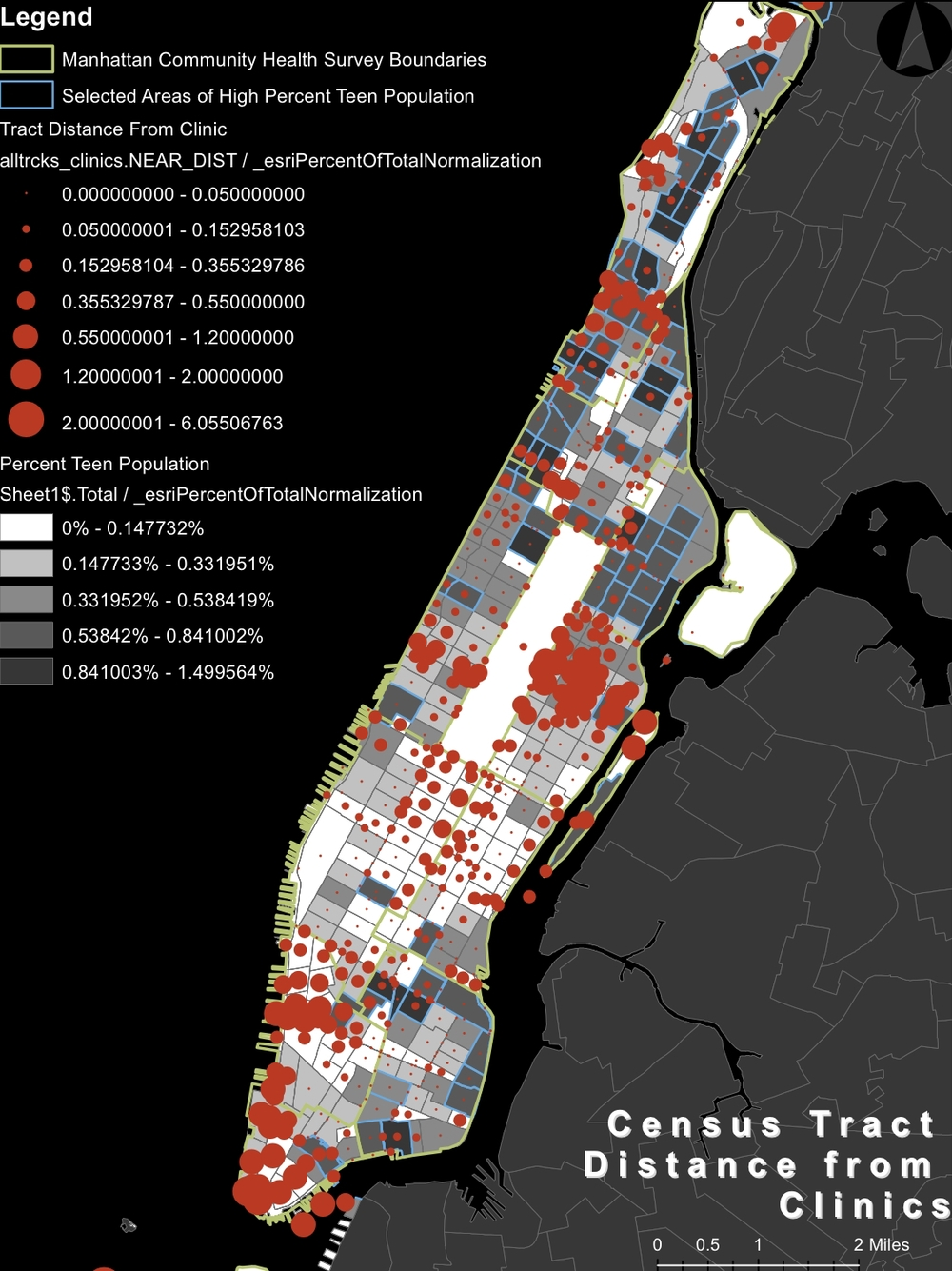 NYC Health Clinic Accessibility   NYC sexual health clinic distance from census tract selected areas of high percent teen population, laid over percent teen population.