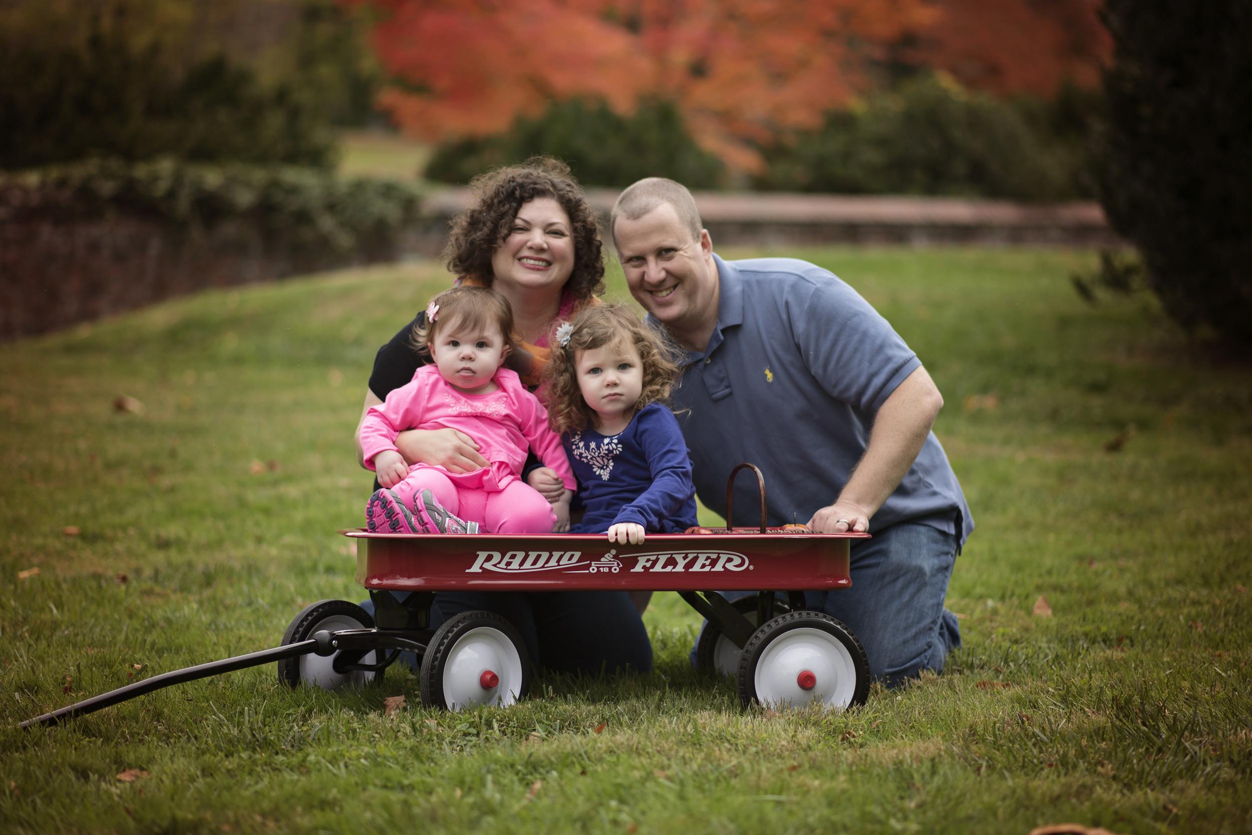 Family with Radio Flyer Wagon Portrait Photographer Kate Montaner