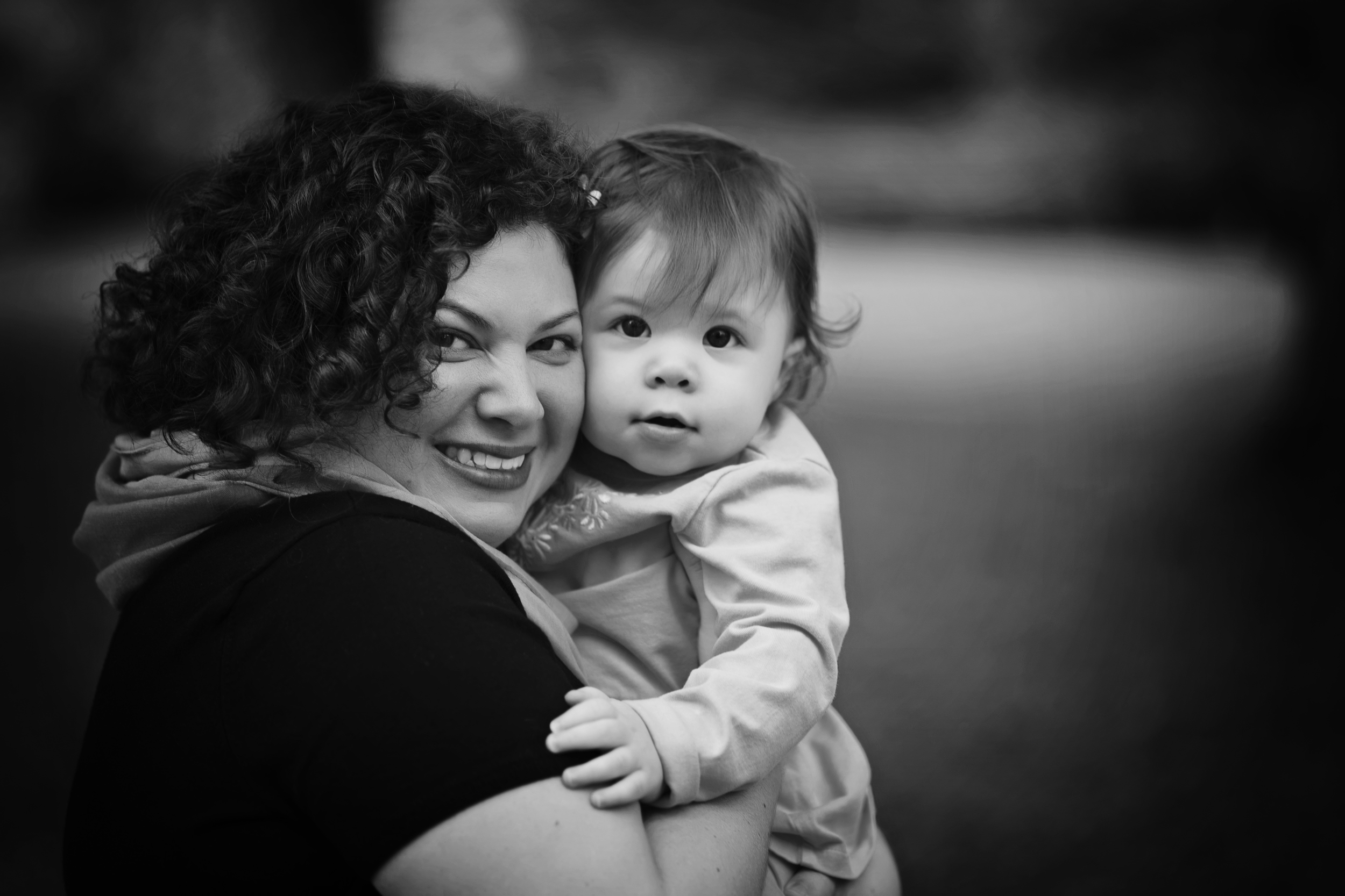 Mommy daughter black and white portraiture Kate Montaner Photography