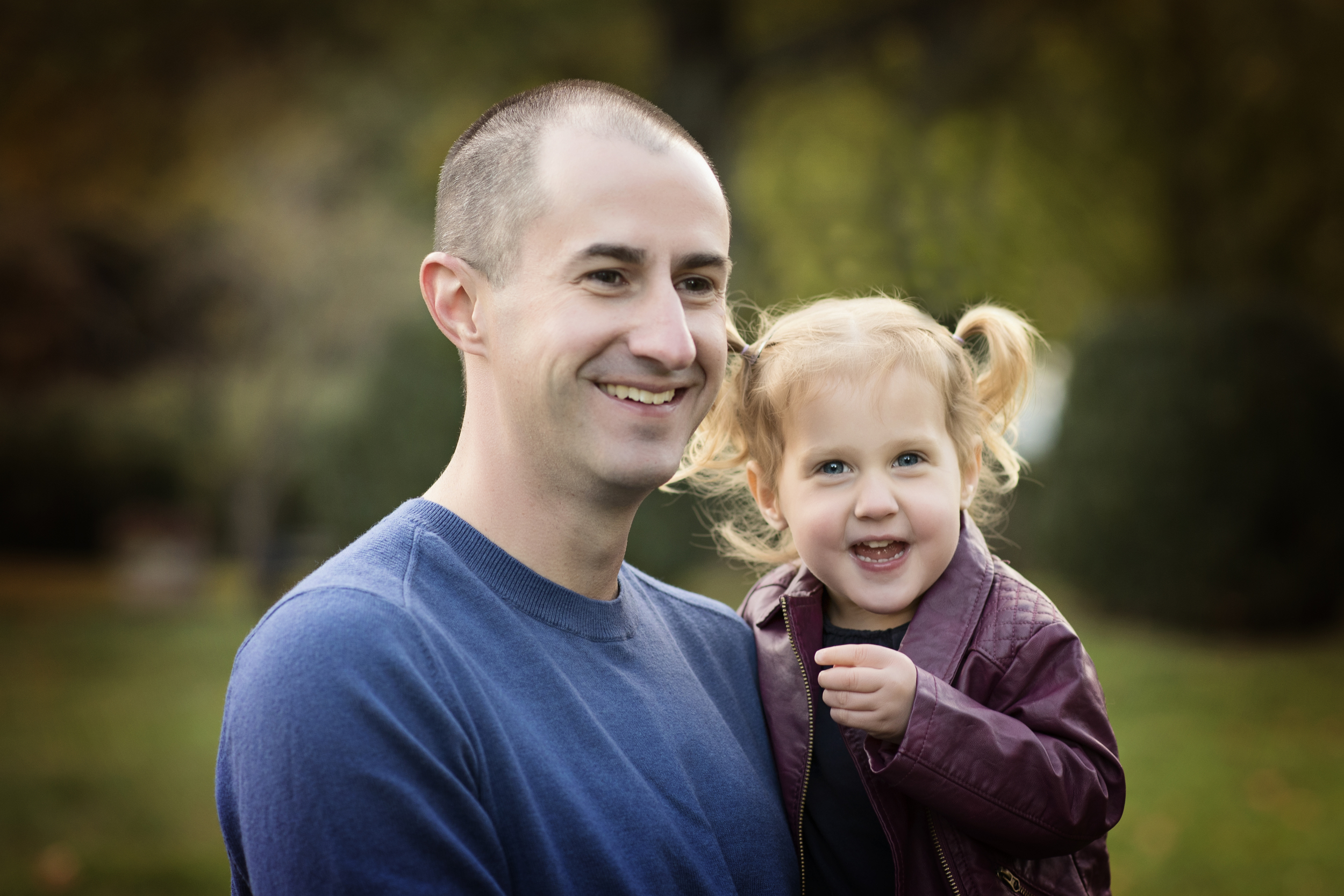 laughing dad and daughter with pigtails Family Photography Bristow VA Kate Montaner Photography