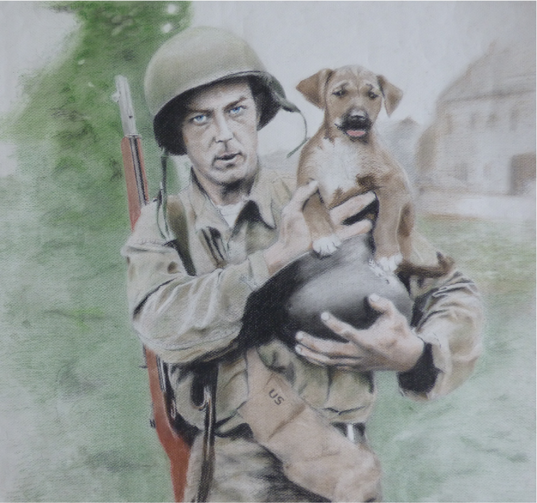 """Soldier with a Puppy"" by Dominic Lynn"