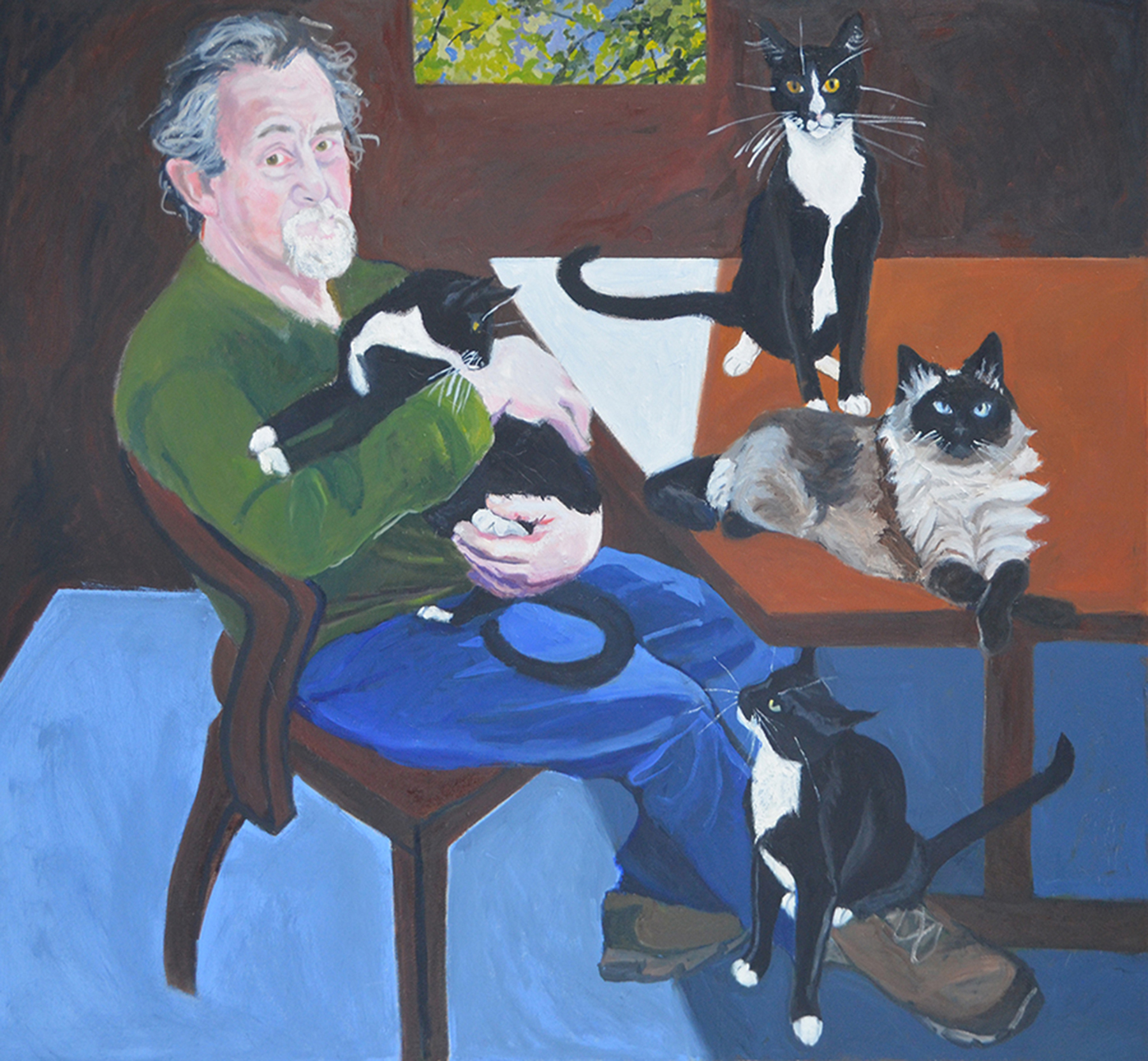 9.Merit Award, Cats With Man by  Constance Merriman.jpg