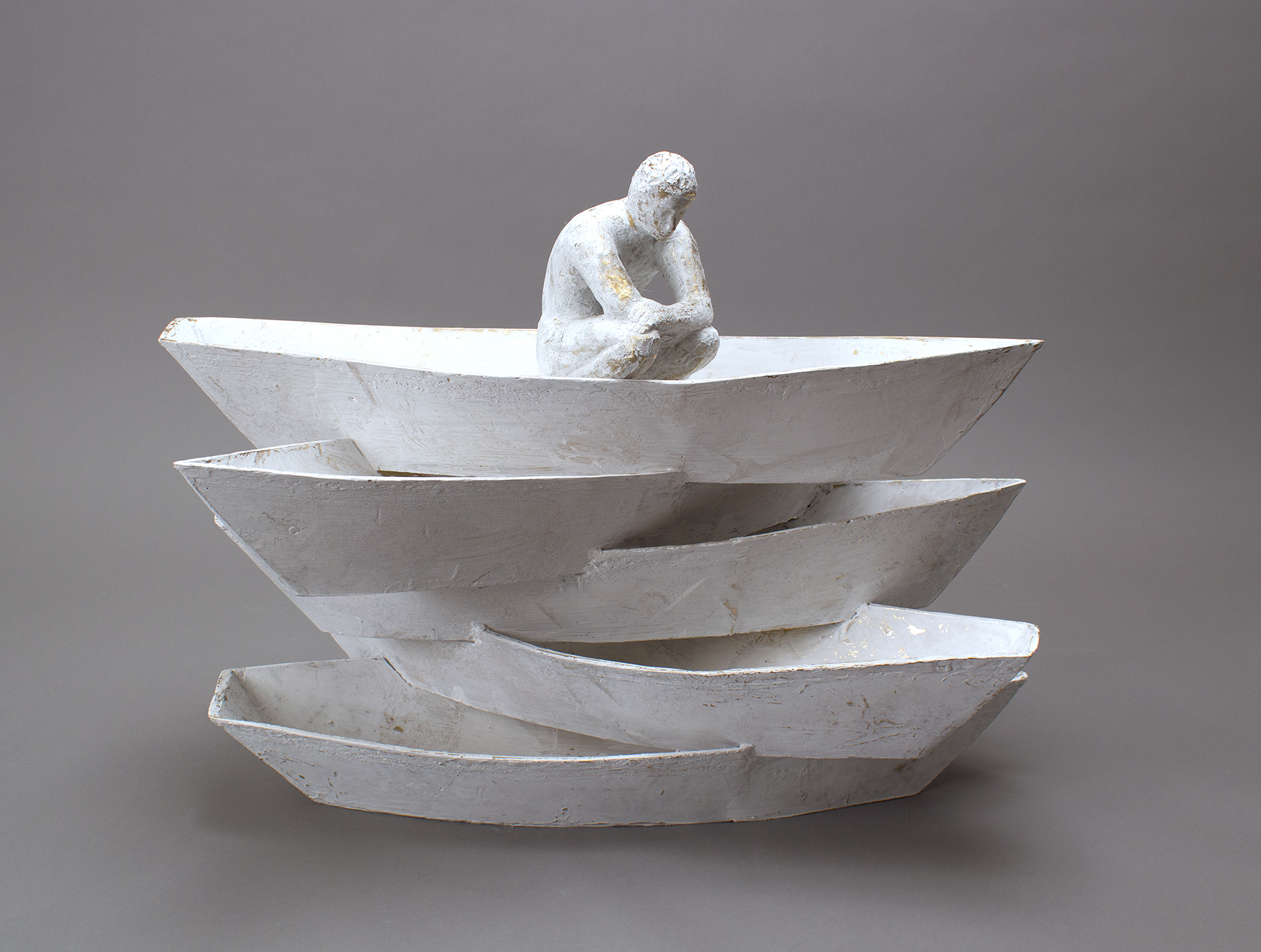 """""""Apilados I"""" painted bronze by Raul Diaz"""