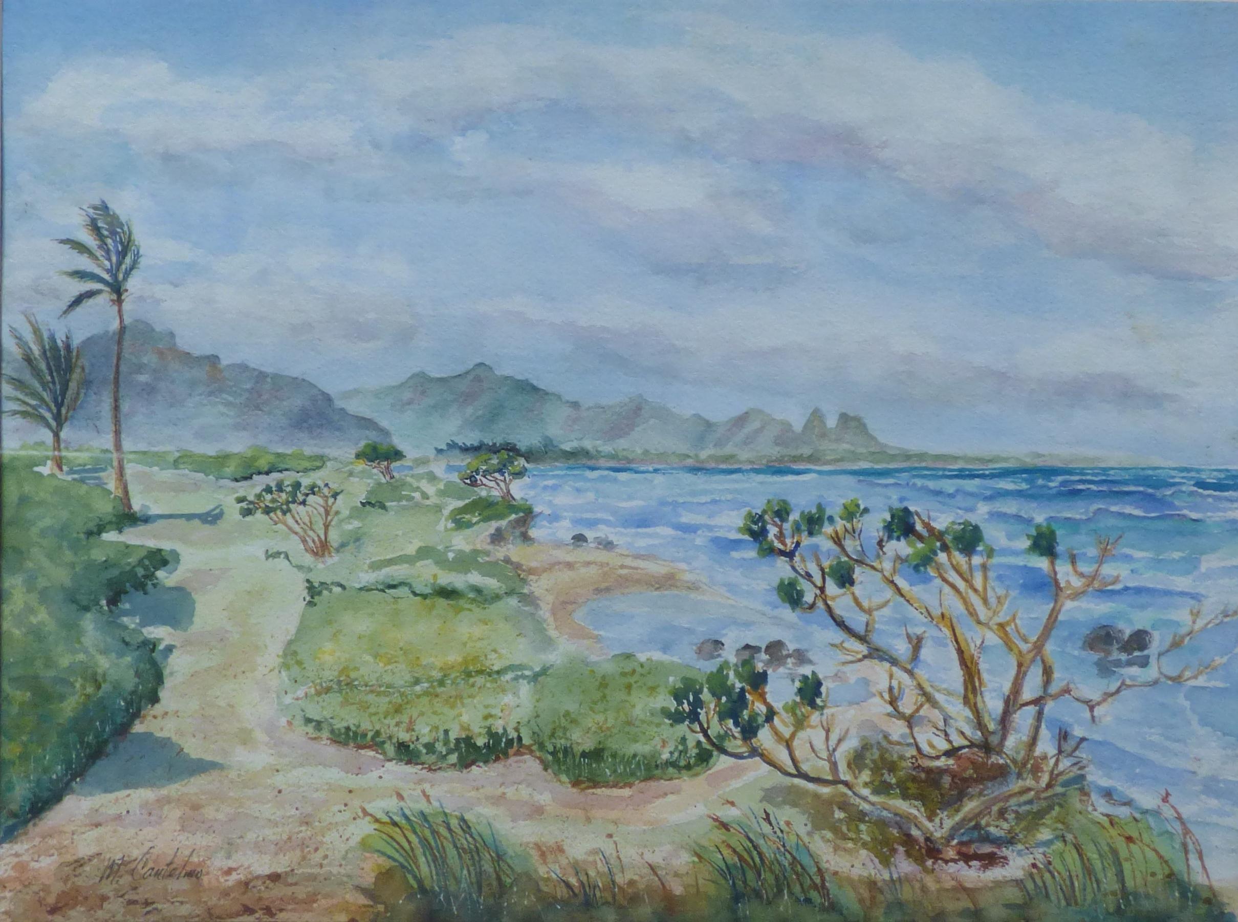 1st Place, Kauai Beach Near Lihue, watercolor by Michael Catelmo.jpg
