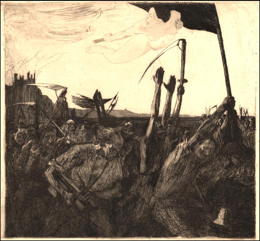 Aufruh (Revolt) etching by Kathe Kollwitz