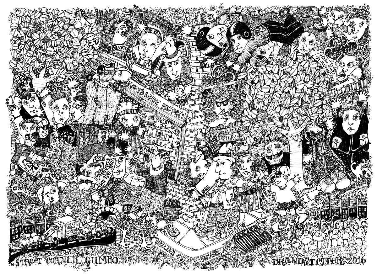 343. Street Corner Gumbo, archival ink, 24x36, Larry Brandstetter.jpg