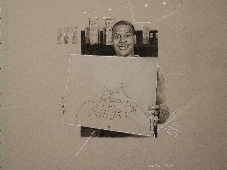 """Portrait of Kyle Lowry holding Portrait of Kyle Lowry,  5"""" x 7"""",  conté pencil  on toned paper."""