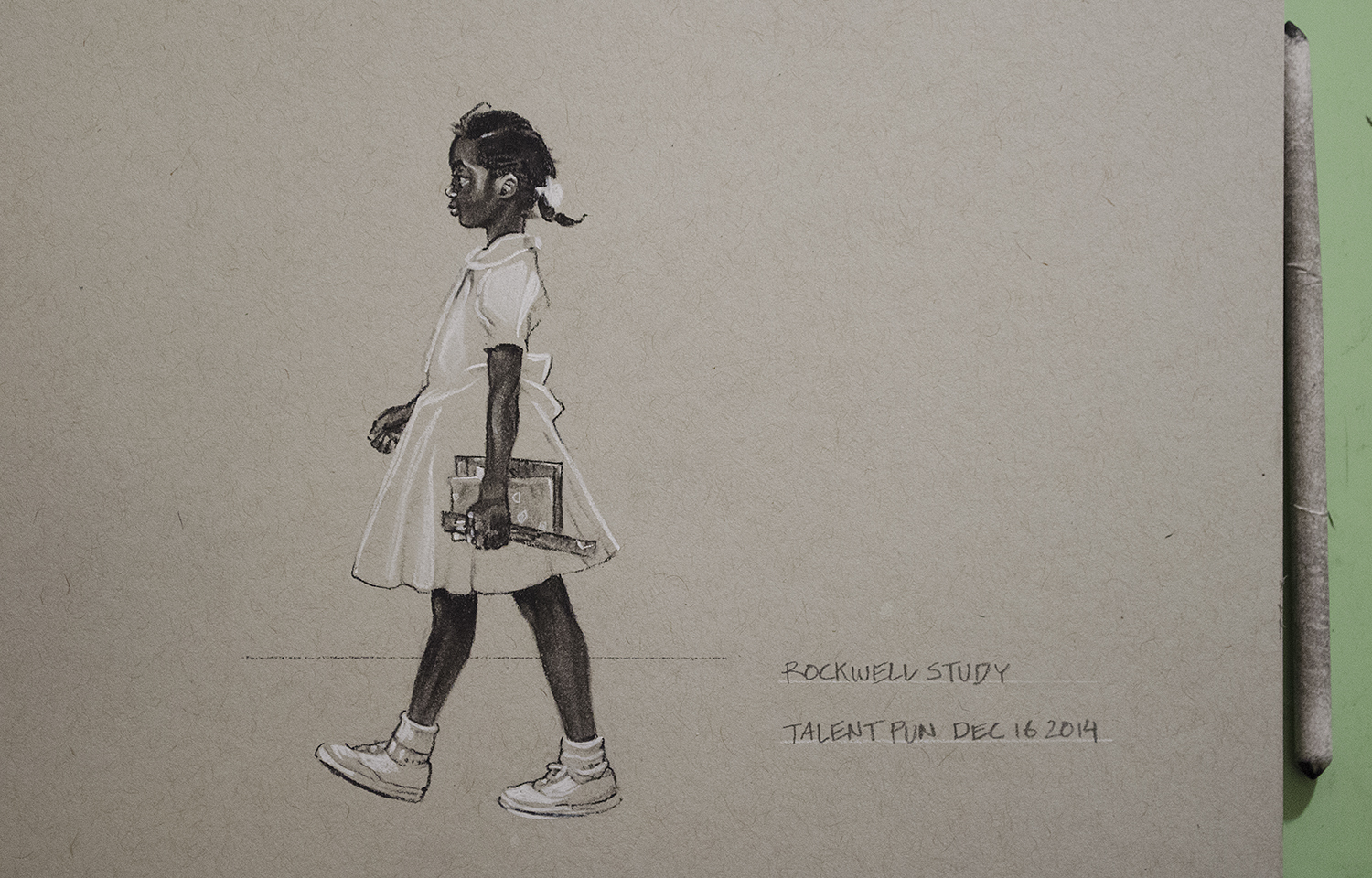 "Rockwell Study,  4"" x 5"",  conté  pencil on toned paper."