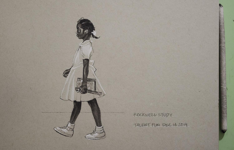 """Rockwell Study,  4"""" x 5"""",  conté  pencilon toned paper."""