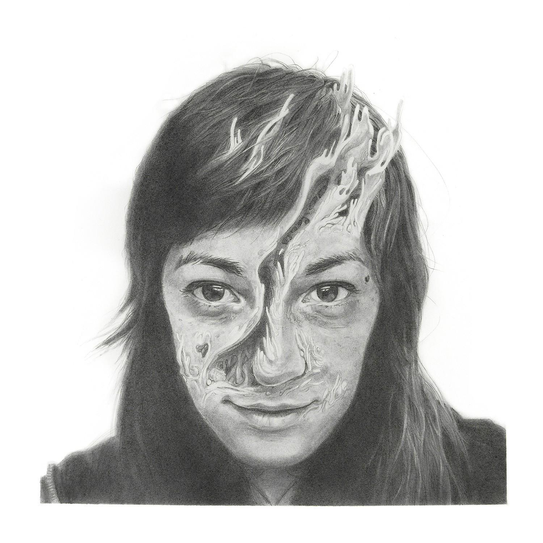 Hana I,  graphite on Fabriano hot press paper, 12″ x 12″