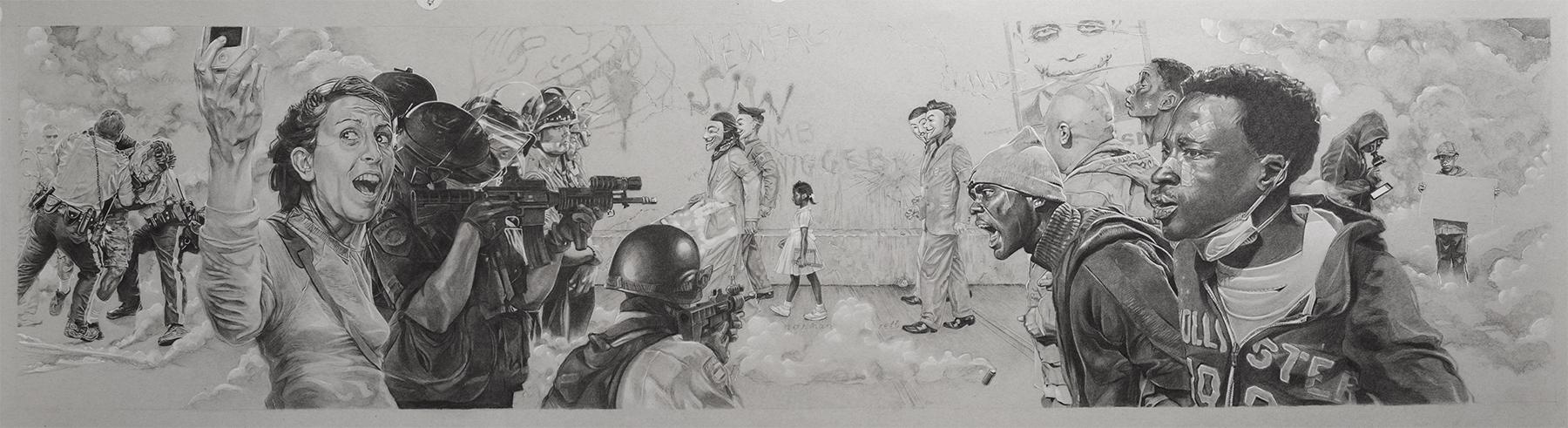 The Problem We All Live With II, 48 ″ x 12″, Conté pencilon toned paper.