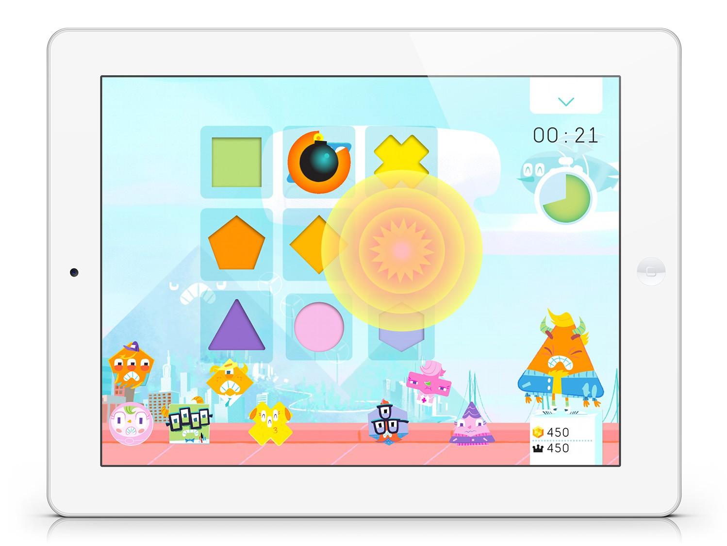 In-game screen of  Monster Pow!,  a beat-the-clock shape matching game.