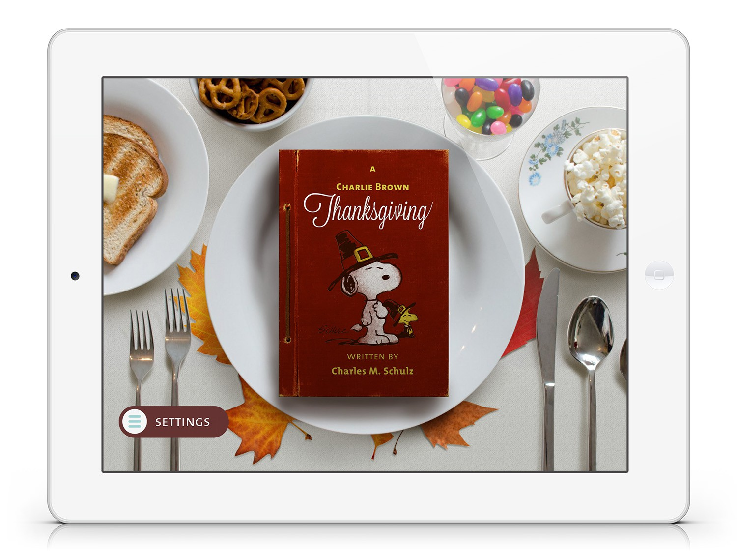 Title Screen for A  Charlie Brown Thanksgiving.