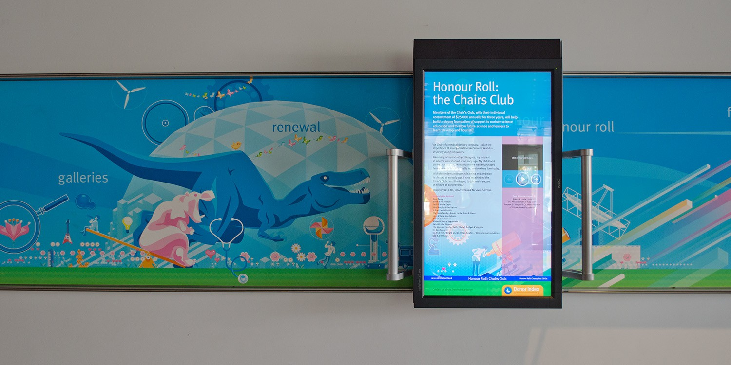 Users interact with the illustrated mural and learn more about donors with sliding touch display.