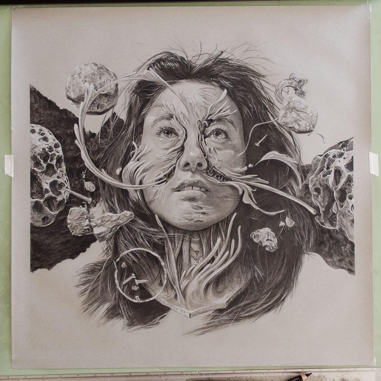 Tara,  conté pencil on toned paper, 20″ x 20″