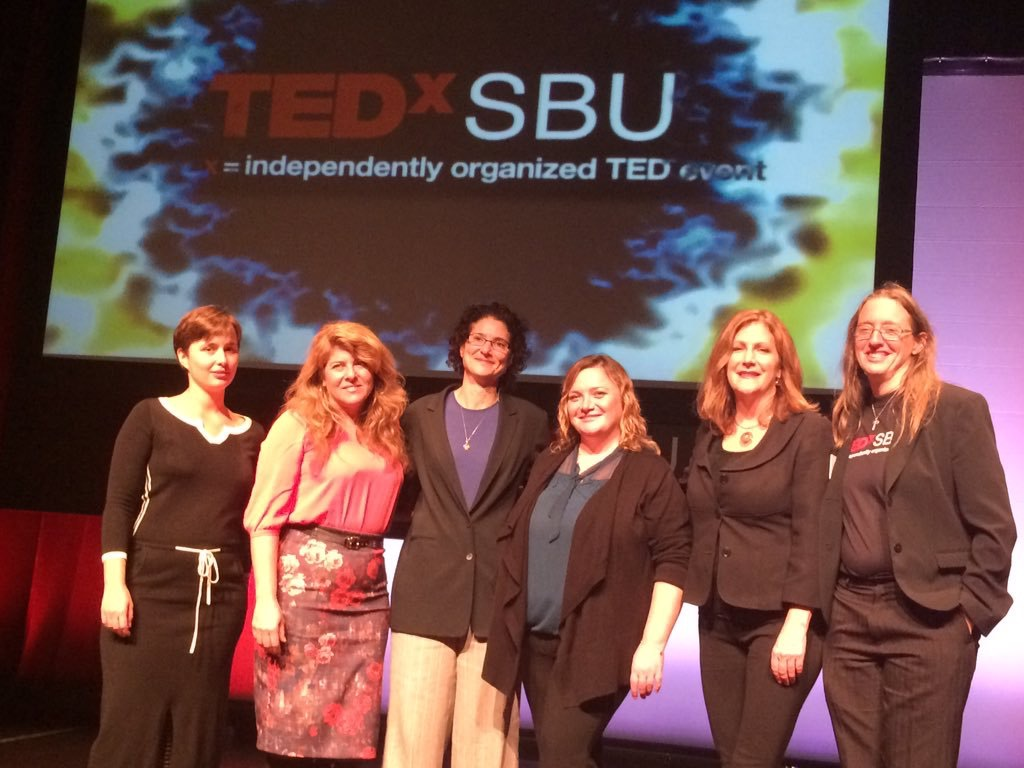 Hutner, second from right, with her fellow presenters at TEDxSBU 2015.