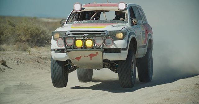 Still frame from our upcoming #baja1000 films for Toyota featuring @canguroracing . Here's Monica getting those front tires off the ground #routine