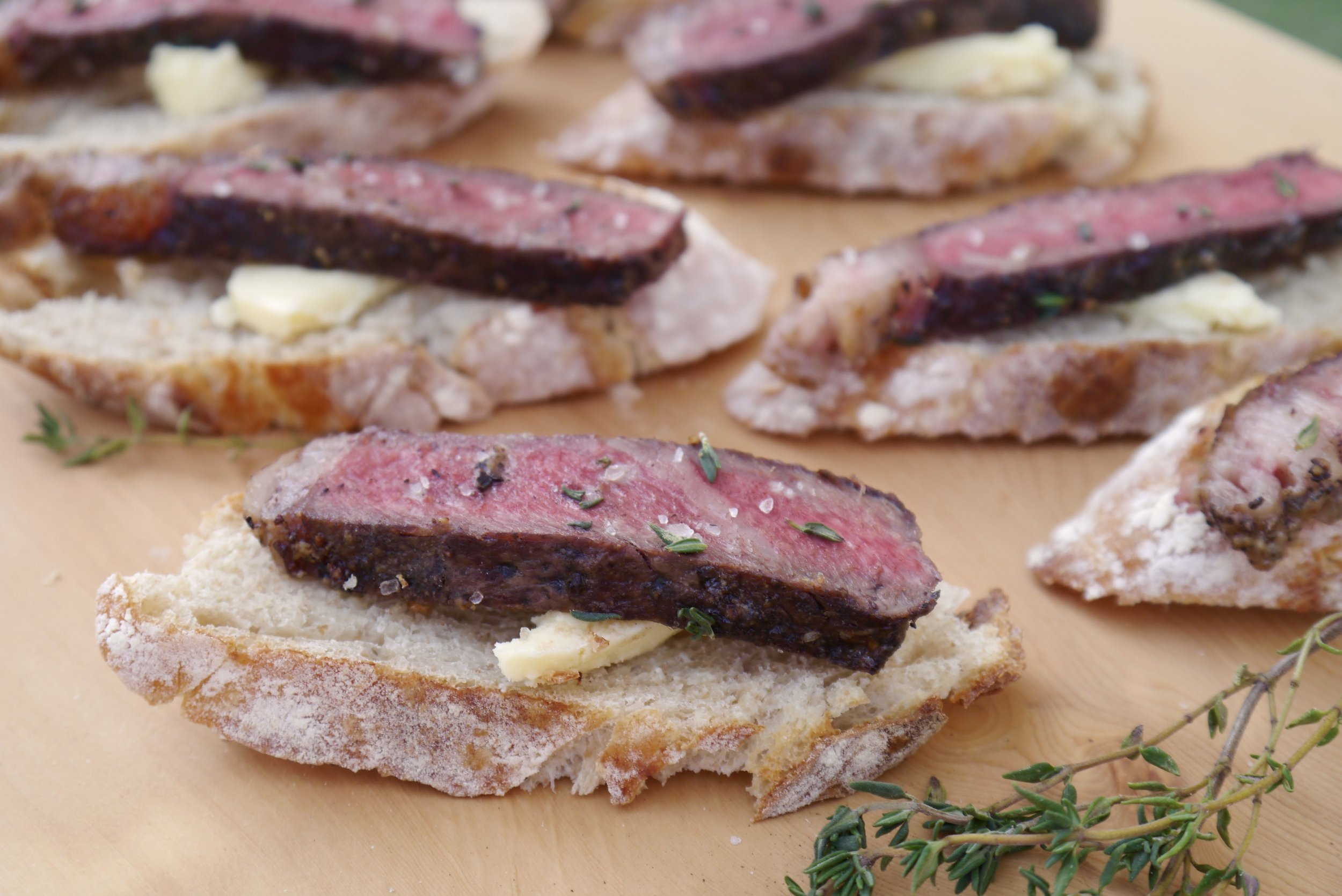 Cultured butter and chilled strip steak appetizer