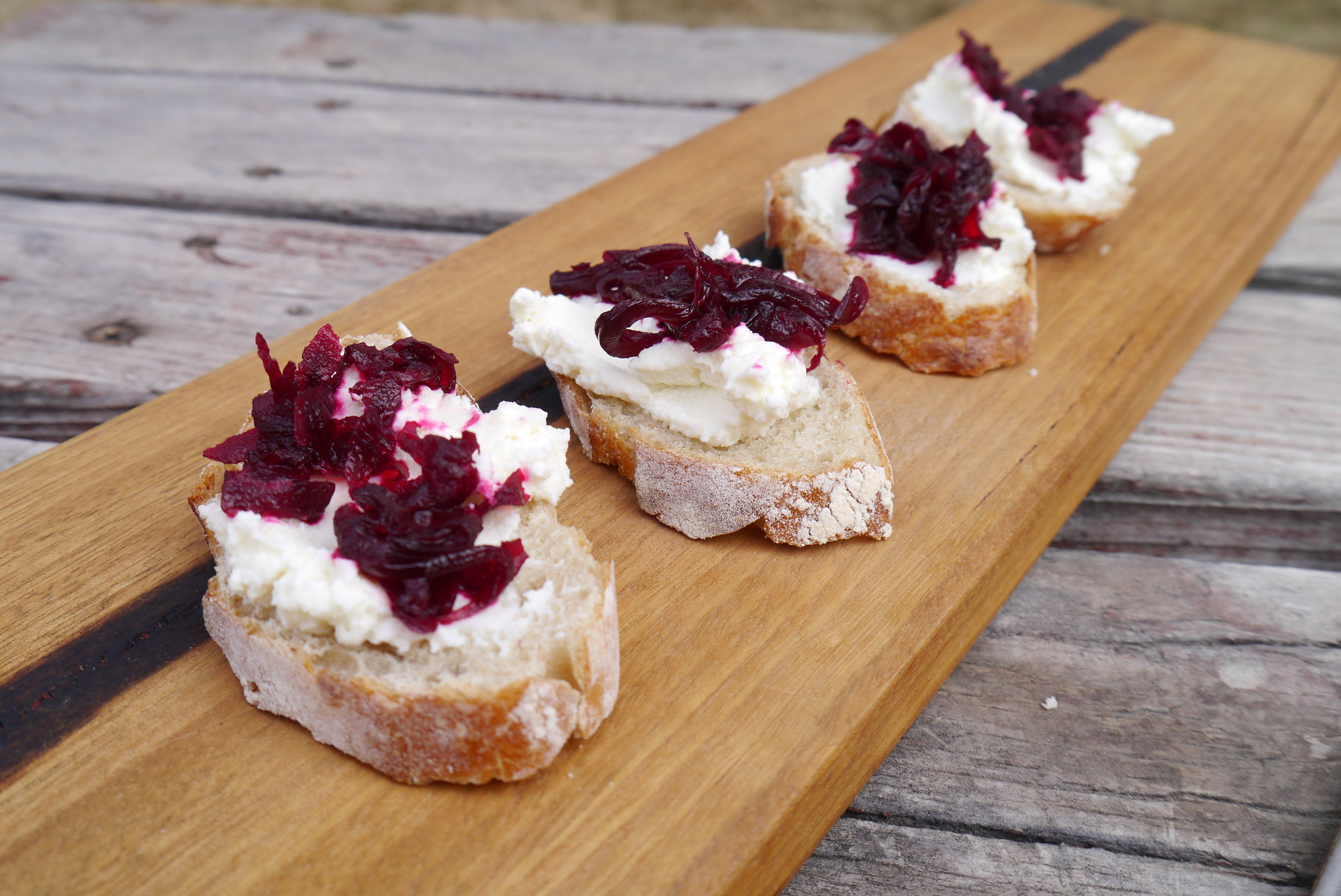 Fresh cheese with pickled beets