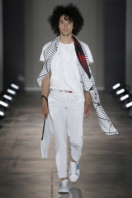 Liam Samuels   makes his Milan Fashion Week debut this SS18, here spotted 'opening' the show for Miguel Vieira.