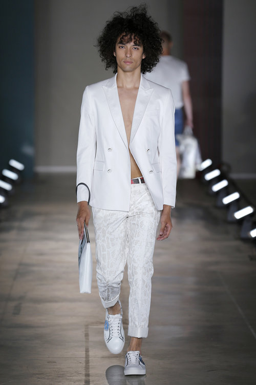 Liam Samuels   spotted in his second look for Miguel Vieira at Milan Fashion Week SS18. In addition to opening the show, Liam also rounds up the finale.