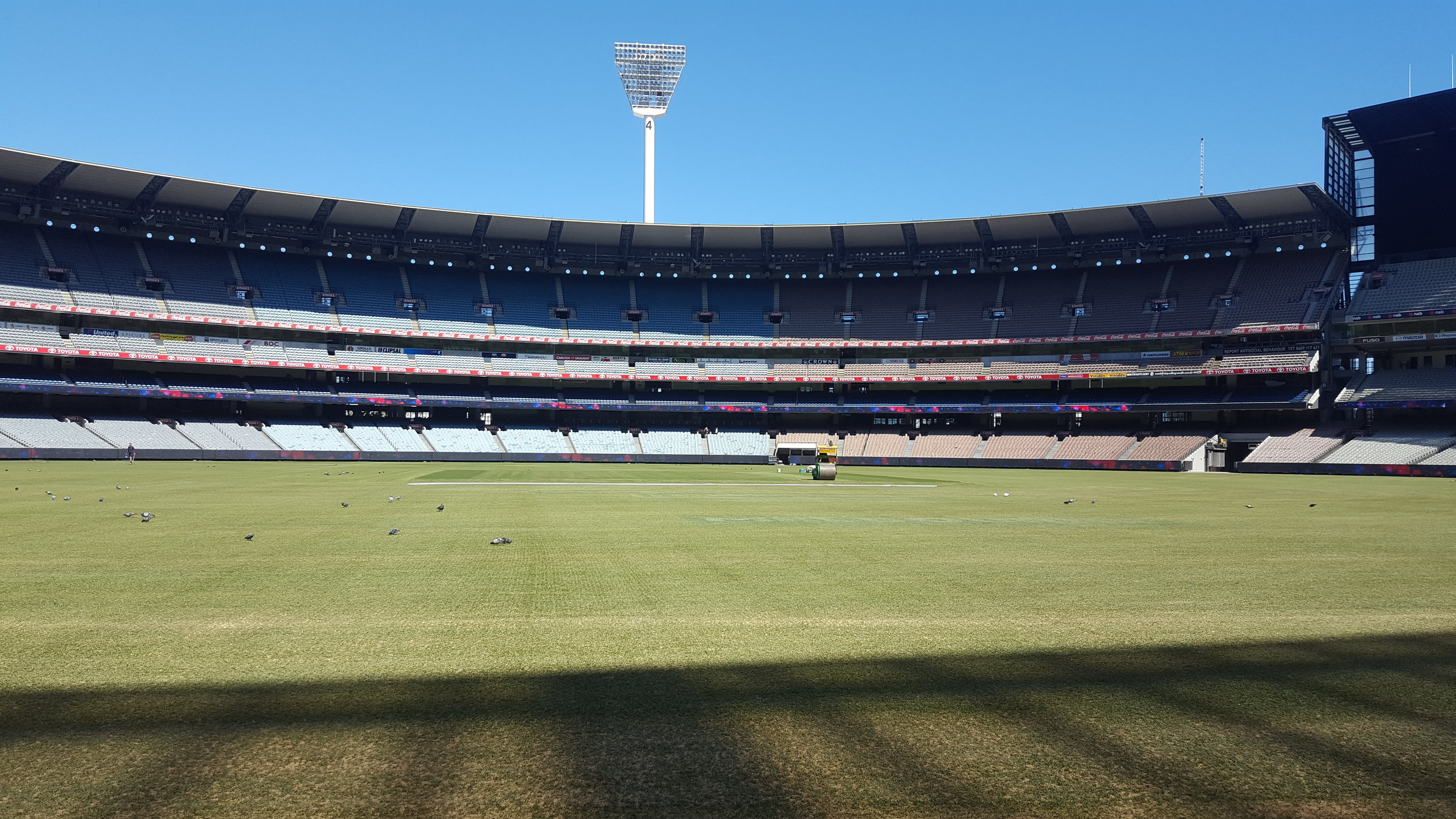 The MCG ground staff have done an amazing job changing this footy ground into The Melbourne Cricket Ground ready for cricket. The rollers are out preparing the hallowed turf.