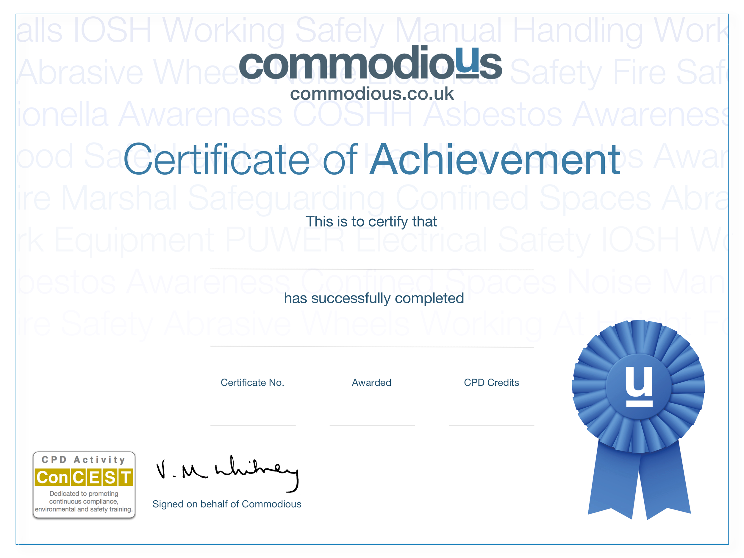 Noise Online Training Course Certificate