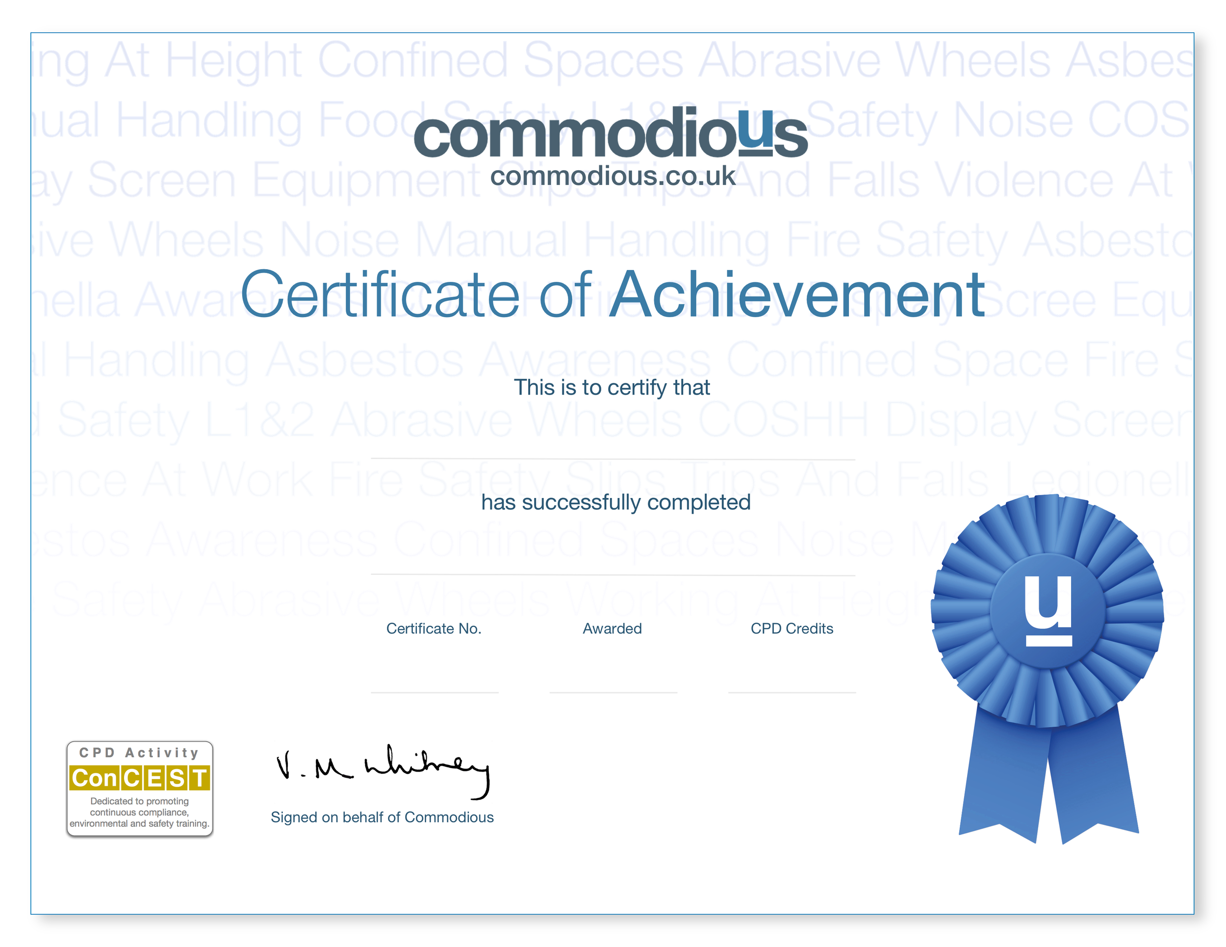 ConCEST Online training certificate
