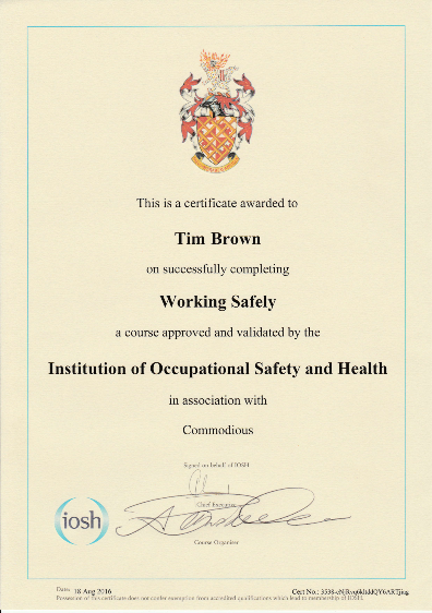 IOSH Working Safely Certificate