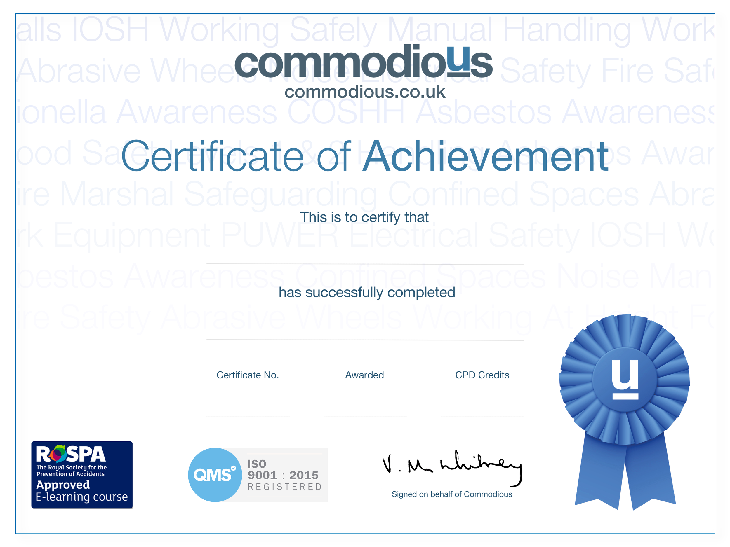 Commodious RoSPA QMS CERTIFICATE