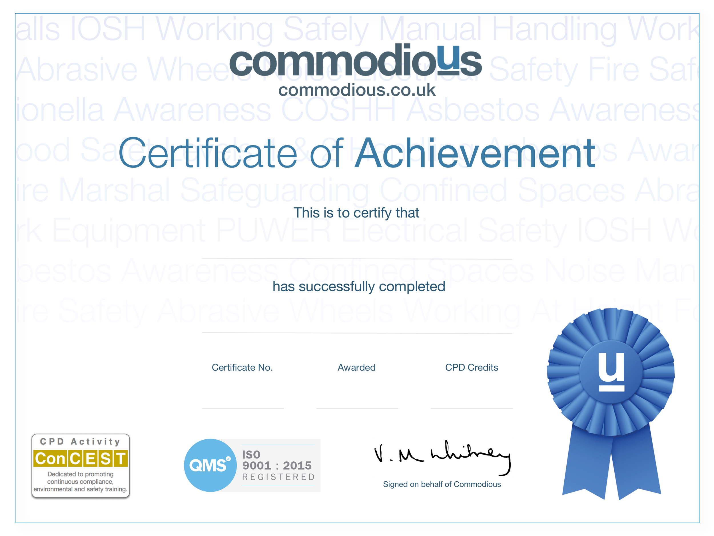 Commodious ConCEST QMS CERTIFICATE