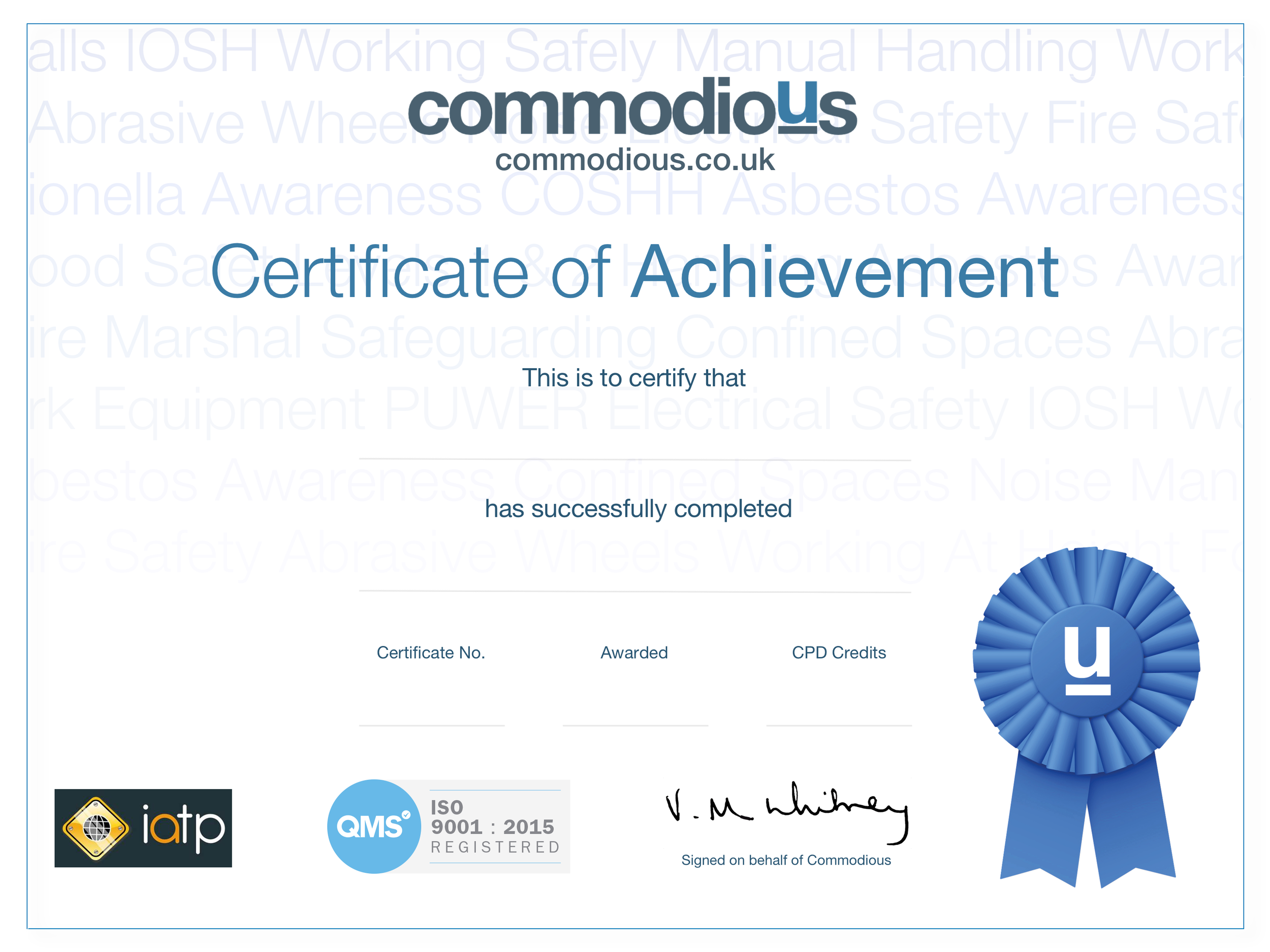 Commodious IATP QMS CERTIFICATE